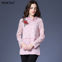 MUSENDA Plus Size Women Pink Chiffon Lace Floral Embroidery Blouse 2018 Spring Female Office Lady Elegant