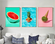 Nordic creative simple fruit pineapple decorative painting 3 pieces canvas paintings wall pictures art decoration Unframed