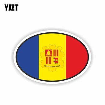 YJZT 13.8CM*9.3CM Car Accessories Oval Andorra Flag Decal Bike Car Sticker 6-1627 image