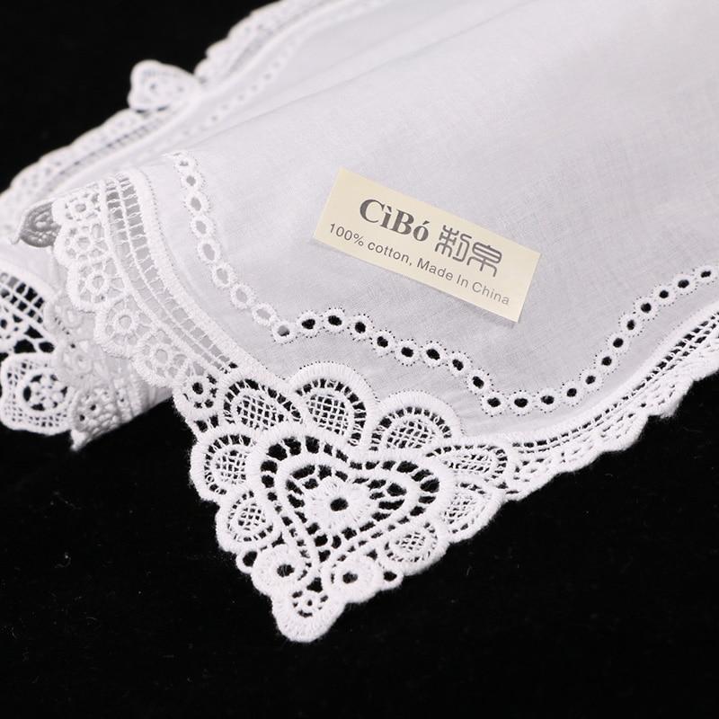 C002 White premium cotton lace handkerchiefs 12 piece pack blank crochet hankies for women ladies wedding