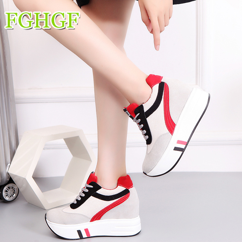 New Women Breathable Casual Shoes Lace Up Walking Shoes Heighten Female Platform Sneakers Flats White Shoes цена