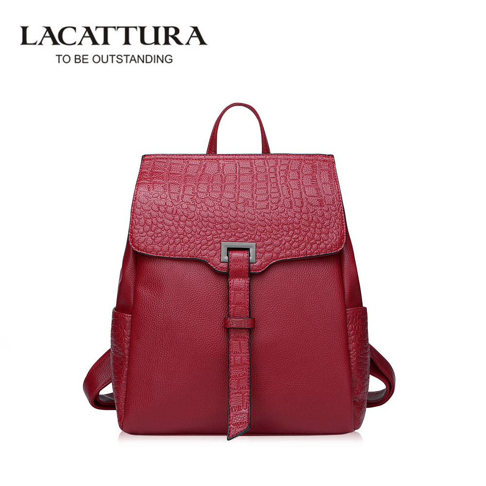LACATTURA Alligator Female Backpack Fashion Genuine Leather Girl Backpack School Casual Wind Bag Backpack Shoulder Bag