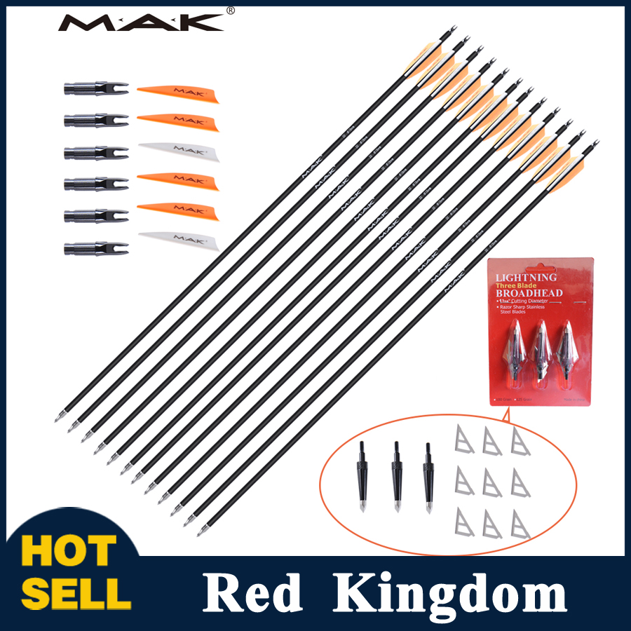 12PC 30 inches  Spine 500-600  Pure Carbon Arrows with OD 7.8 And Changeable Arrow Head  for Compound and Recurve Bow Hunting wholesale archery equipment hunting carbon arrow 31 400 spine for takedown bow targeting 50pcs