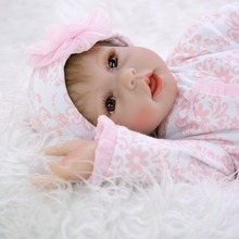 Lifelike Smiling Bebe girl Reborn doll Silicone Hand and head Baby Dolls Realistic 0-3Month Newborn Girl Babies kids Xmas Gift 23inch full silicone reborn baby doll lifelike newborn girl baby dolls rooted mohair 100% handmade doll xmas gift free shipping