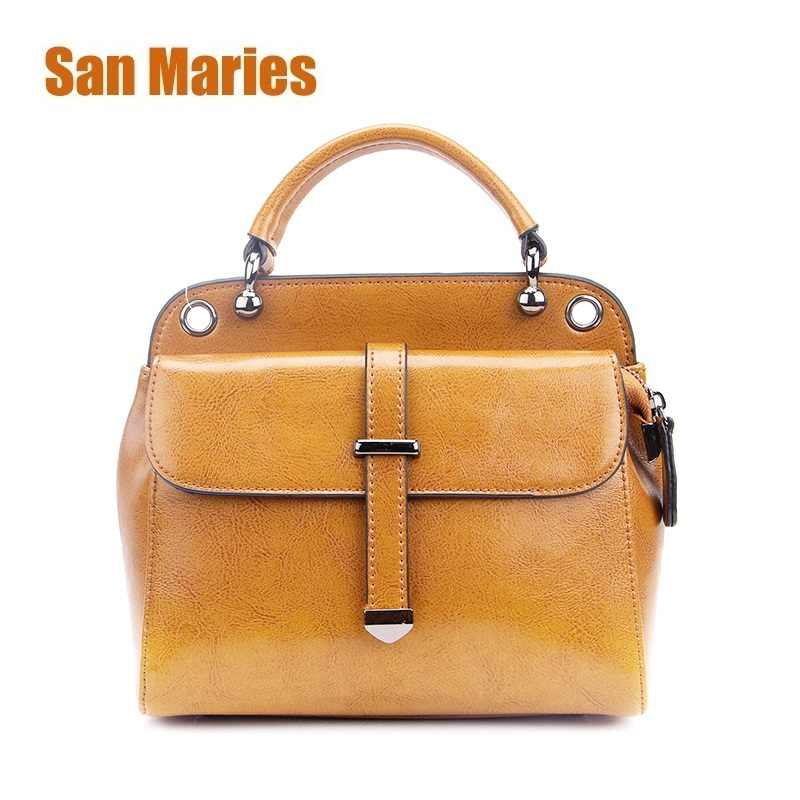 2ab7862ff0851 San Maries Women Bag 2018 Luxury Brand Designer Casual Women Genuine  Leather Handbags Fashion Women's Shoulder