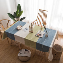 2019 New Korean style Linen Cotton Tablecloth Coffee blue 5 colors Embroidered Lace Fringed Rectangle Dining table cloth textile(China)