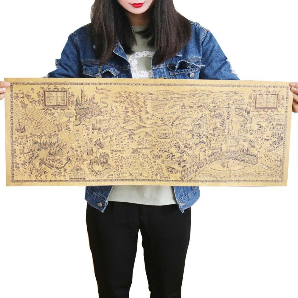 2 pcs Harry Potter Magic World Map Famous View Kraft Paper Cafe Bar ...