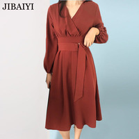 Vintage Red Khaki Long Dress Woman Summer Spring V Neck Dresses Long Sleeve Sashes Slim Waist