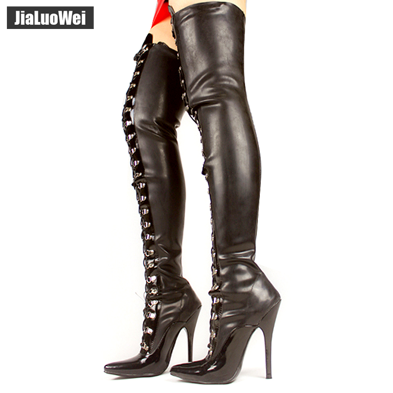 jialuowei 12cm High Heel Lår High Black Lace Up Sexig fetish latex Emulsionsmaterial Överknee Hög stövlar Support Custom