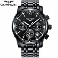 Marca guanqin reloj de los hombres 2017 de zafiro resistente a los arañazos de cuarzo reloj luminoso hombres de la moda del reloj para hombre relojes de pulsera relogio masculino