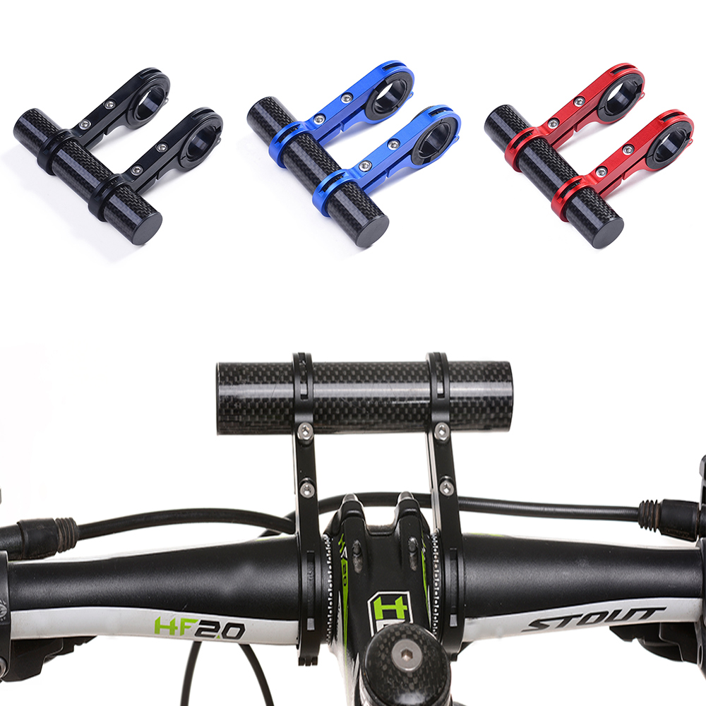 2 Frames 10CM Carbon Fibre Bicycle HandleBar Lamp Bracket Mount Cycling Handle Bar Extender