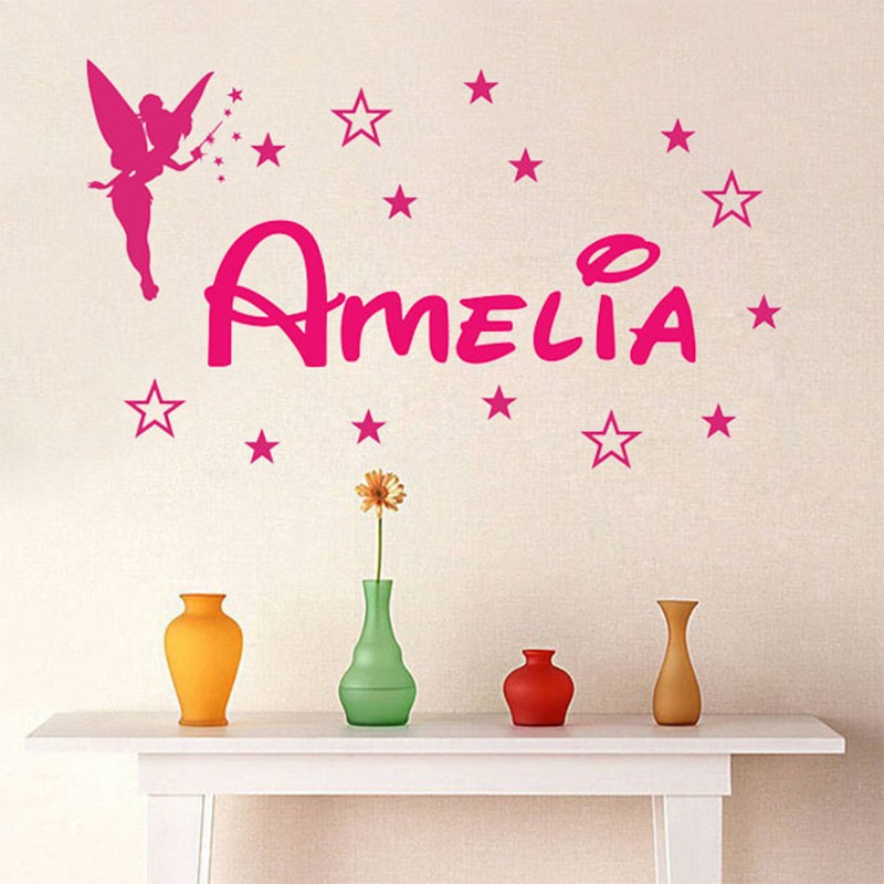 new custom name magic girl tinkerbell wall stickers lettering home decoration girl bedroom vinyl wall