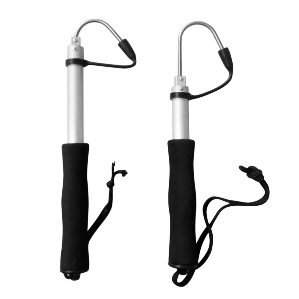 60/120cm Stainless Steel Sea Telescopic Fishing Gaff Aluminum Alloy Spear Hook Fish Tackle Outdoor Fishing Tool