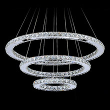 Modern Led Crystal Chandeliers Light Fixture for Living Room Dining Room 3 Rings LED Crystal Chandelier Round Hanging Lights(China)