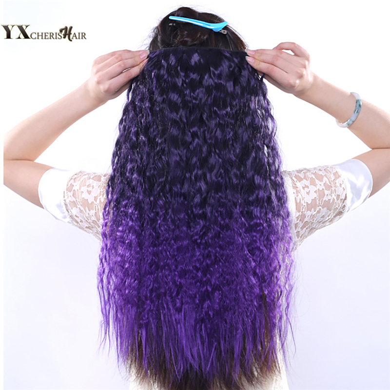 YXCHERISHAIR 60cm 120g Long Synthetic Hair Clip In Hair Extensions Heat Resistant Hairpi ...