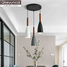 Qiseyuncai Nordic three-head restaurant chandelier creative personality bar iron dining room simple bedroom study lamp недорого