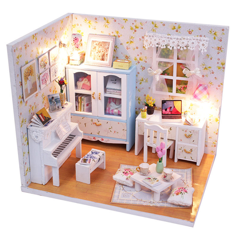 DIY Wood Dollhouse Photo Frame Assemble Kit Miniature Doll House w//Furniture