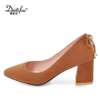 Daitifen New Arrivals 2018 Outlook Shoes Flock sexy models in high heels Pointed toe Women thick heel job shoe Bow Knot Heels