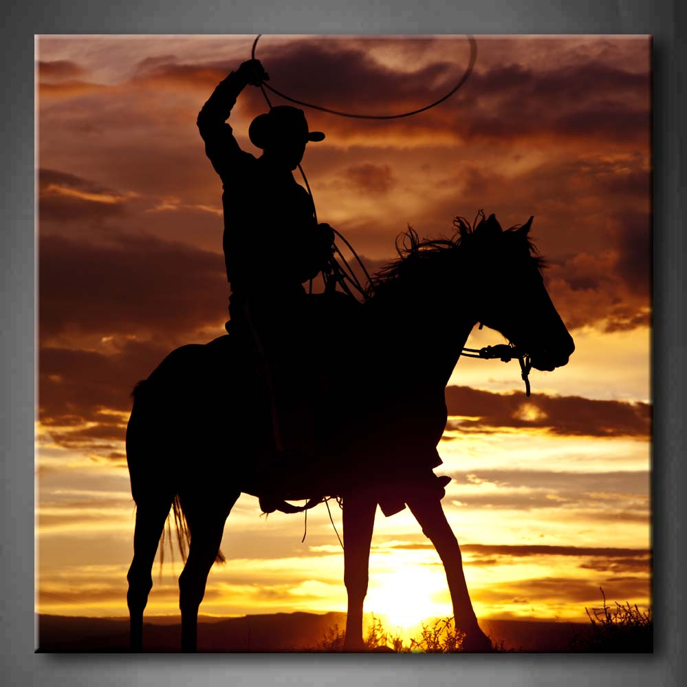 Unframed Wall Art Pictures Cowboy Horse Sunset Canvas Print Artwork Modern Animal Posters Without Frames For Living Room