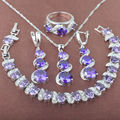Unique Purple  Zirconia 925 Sterling Silver Jewelry Sets Necklace Pendant Earrings Rings Bracelet Free Shipping JQ031