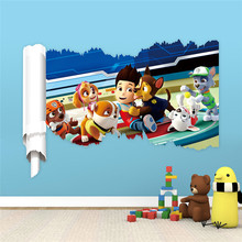 2017 3D Dogs Cartoon Wall Stickers Paws Patrols Wall Decals Adesivos De Paredes Animal Mural Creative DIY For Kids Rooms Decor