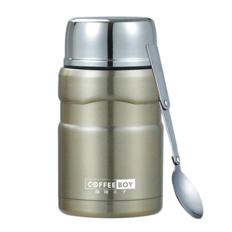 Termo Coffee Boy para contenedores de alimentos, frascos de vacío con cuchara, taza térmica de acero inoxidable