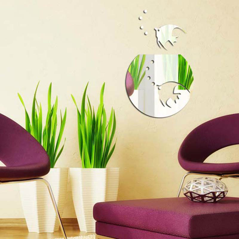 Free shipping acrylic tropical fish wall decoration decal 1MM thick ...