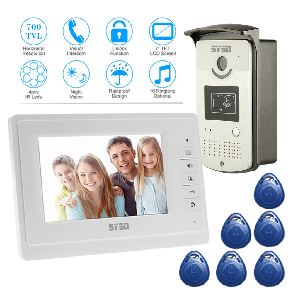 Free Shipping Home 7 LCD monitor Speakerphone intercom Color Video Door Phone doorbell access Control System IR doorphone