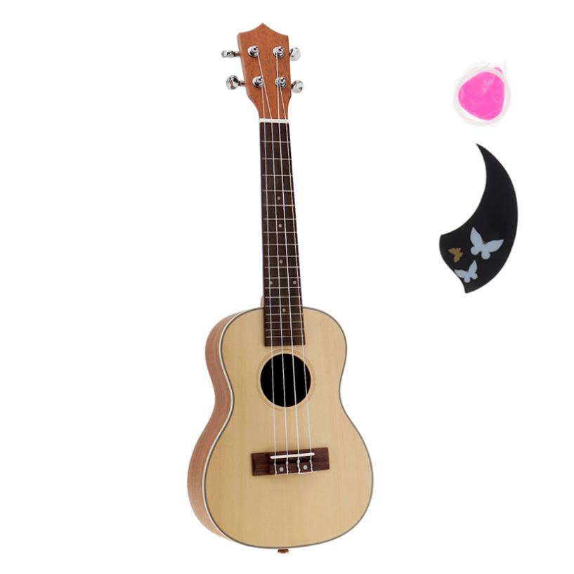 23 Inch 18 Fret Concert Ukulele Acoustic Cutaway Hawaii 4 Strings Guitar Spruce Wood Ukelele Guitarra with Pick and Strings high quality solid wood guitar 41 inch spruce wood panel acoustic guitar guitarra free shipping