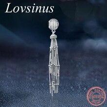 Оригинальные Подвески Pandora, 925 пробы, серебряные, круглые, с длинной кисточкой, подвески, бусины, женские браслеты, ожерелья, DIY ювелирные изделия