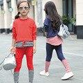 Дети девушки комплект одежды весна осень спорт полосатый балахон + брюки из двух частей детская одежда спортивный костюм 4 ~ 13 лет одежда для девочек