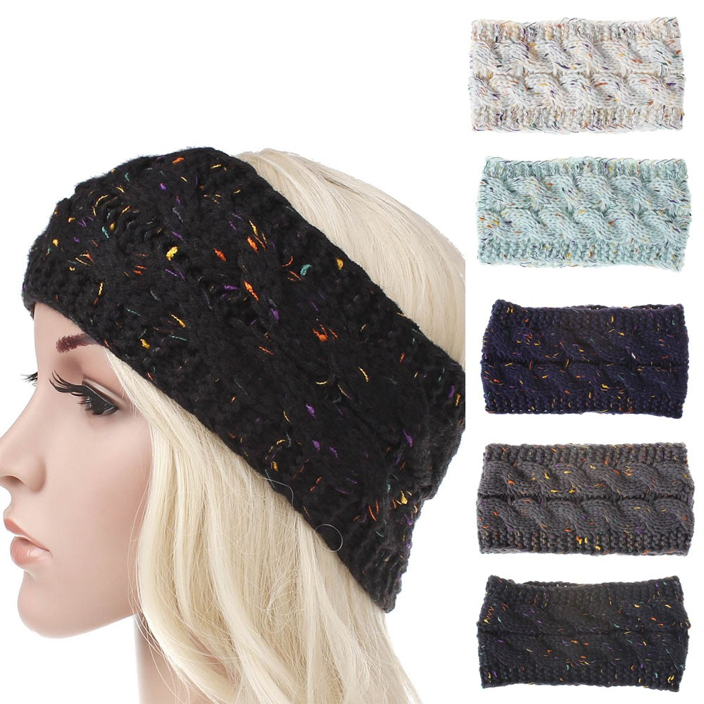 Colorful Bronzing Knitted Woolen Headband For Women Adult Winter Thick Warm Crochet Turban Hair Hair Accessories Headwraps #9 Детская кроватка