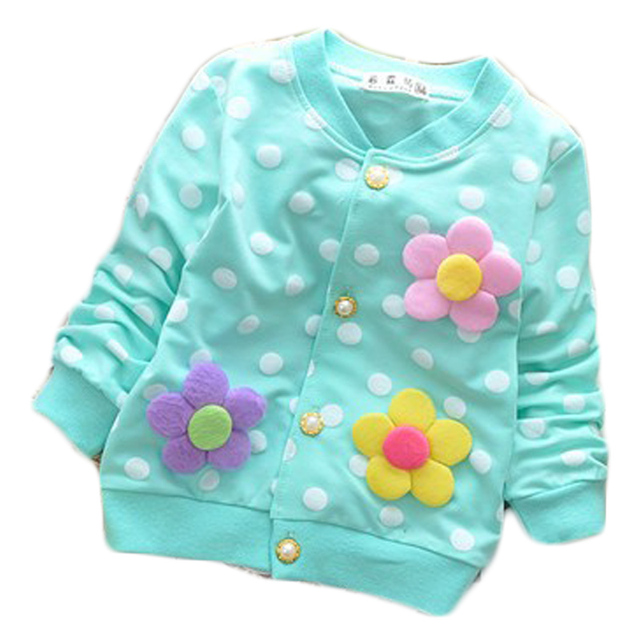 Spring summer cotton baby girls button long sleeve tee jacket coat flowers applique dot children clothing outdoor free shipping