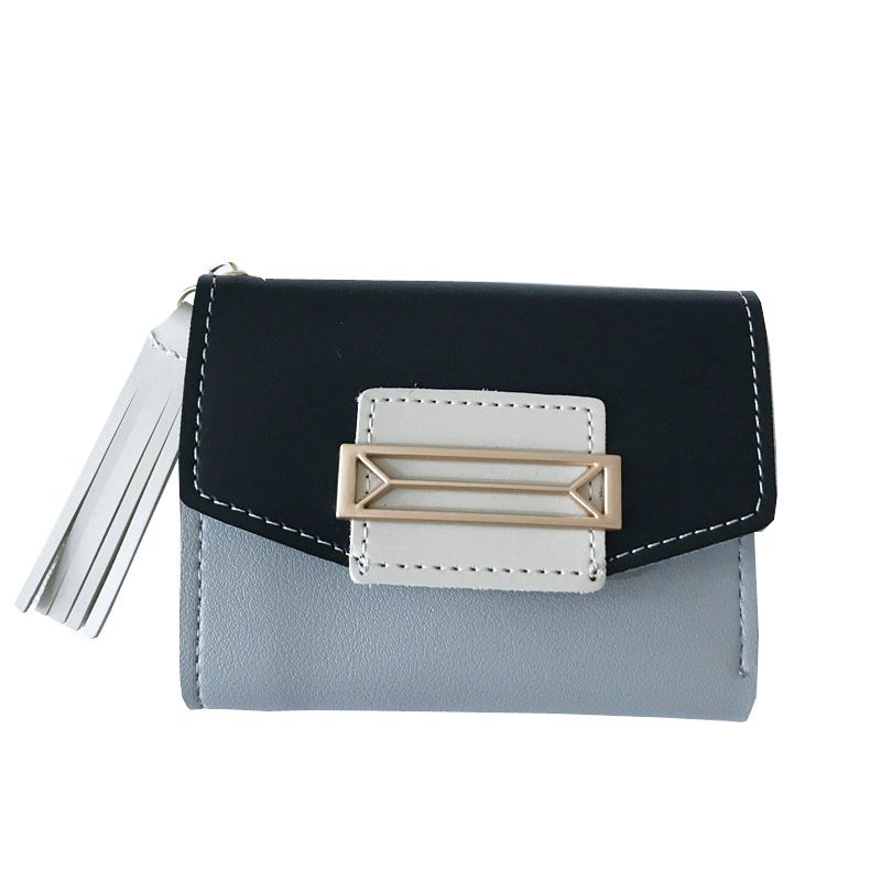 2018 Porte Monnaie Femme Minimalist Tassel Wallet Female Patchwork Short Magic Wallet PU Leather Sequined Women Wallets SX0638