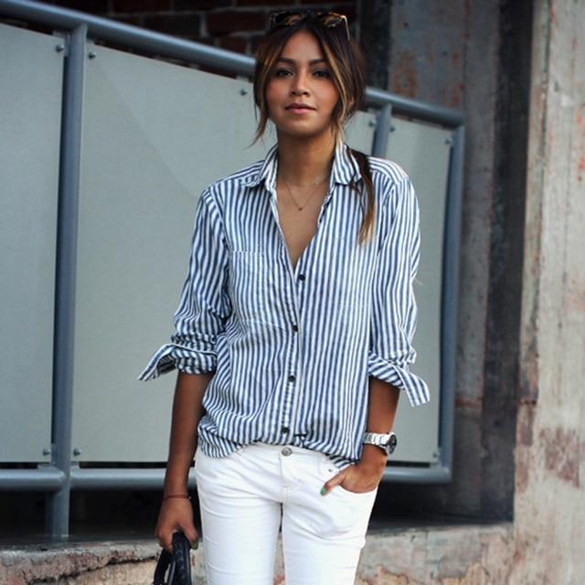 f48c6bc8a9c1 € 18.46 |Moda para mujer de rayas verticales camisa casual solapa de la  camisa azul de manga larga de las nuevas mujeres en Blusas y camisas de  Ropa ...