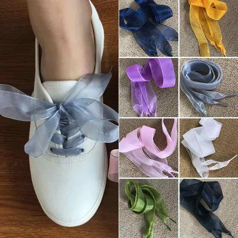 1 คู่ผู้หญิง Shoelaces แบนผ้าไหมซาตินริบบิ้นกีฬา/ผ้าใบ/รองเท้าสบายๆรองเท้าผ้าใบ Laces รองเท้า 110 ซม. x 2.5 ซม.