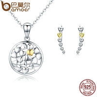 BAMOER Authentic 925 Sterling Silver Jewelry Set Love Forever Heart Shape Jewelry Sets For Women Wedding
