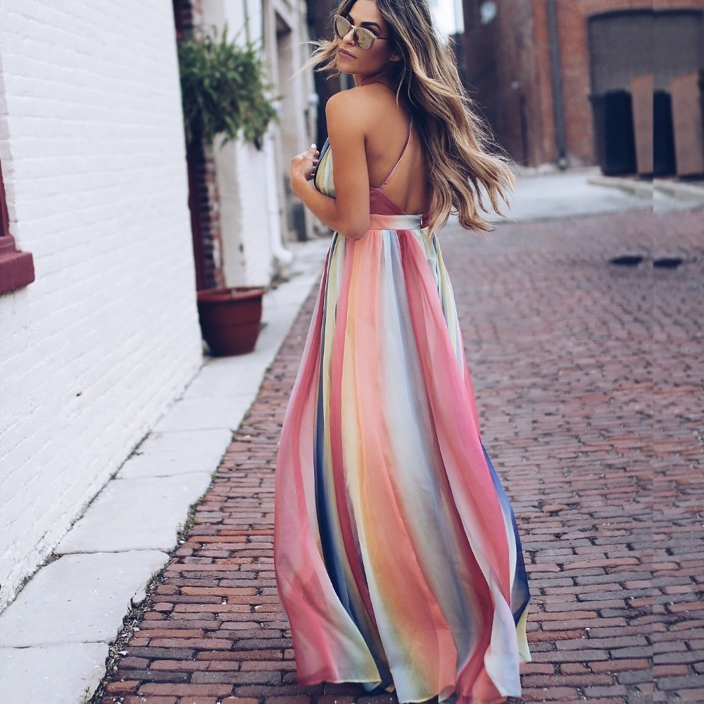 HOT 2019 New Style Bohemian Summer Dress Women Spaghetti Strap Printting Empire Vestidio Women Backless Sexy Deep V Dresses in Dresses from Women 39 s Clothing