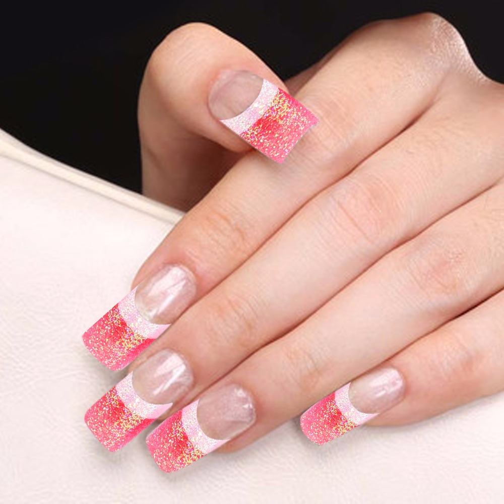 Candy Lover Acrylic Glitter Fake Nail Tips 70pcs/Box French Manicure ...