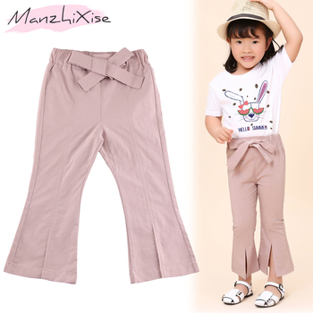 2019 Fashion Flare Girls Pants 100% Cotton Bow Elastic Waist Ankle-length Boot Cut Children Clothes Girl Trousers Kids Bottoms