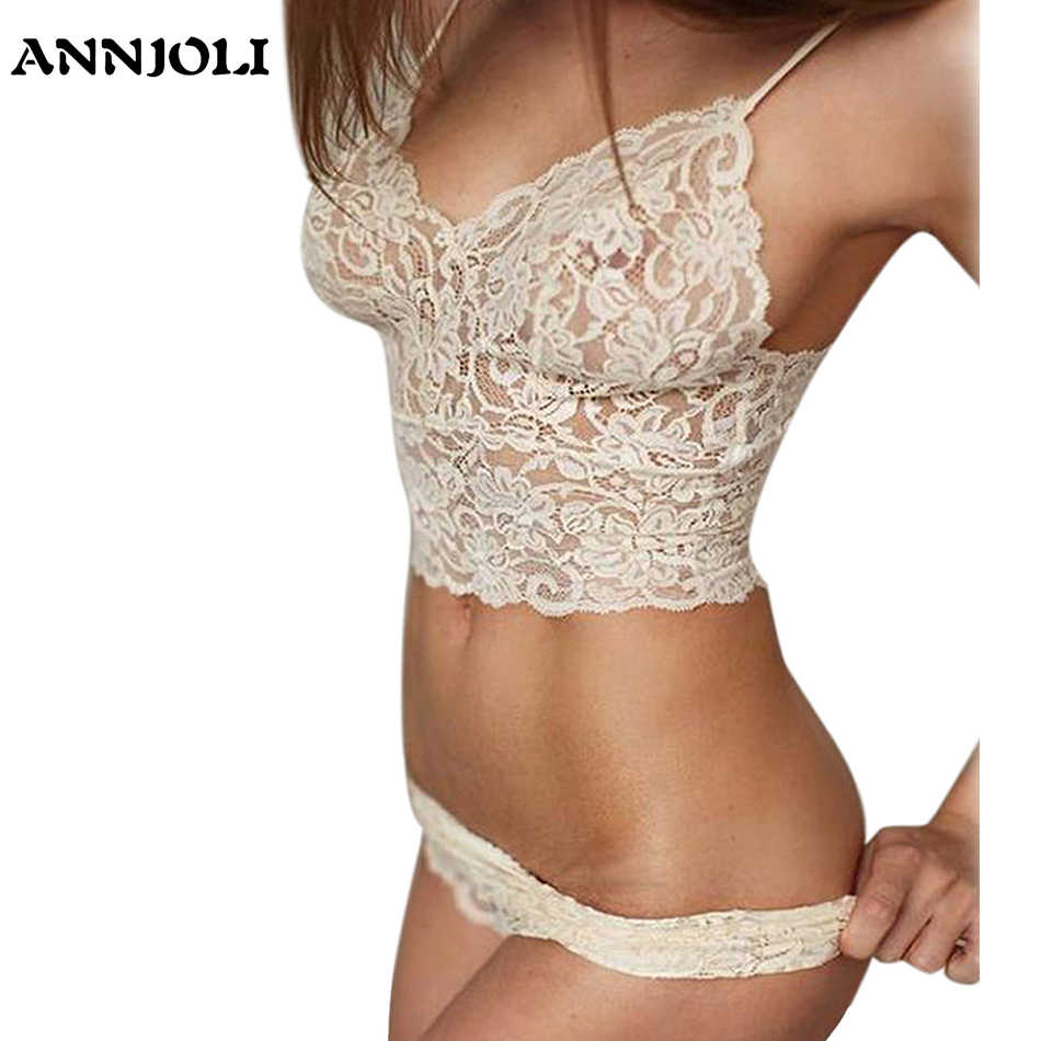 ANNJOLI Plus Size 5XL Women Sexy Corset Hollow Lace See-through Push Up Cami Bra Top and Panties Underwear Lingerie Set 3 Colors
