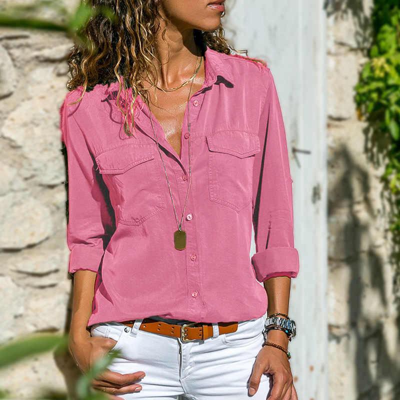 เสื้อผู้หญิง 2019 ใหม่แฟชั่นยุโรปฤดูใบไม้ผลิฤดูใบไม้ร่วงเปิดลงคอยาวแขนยาวเสื้อ Vestidos Dropshipping YFF6219