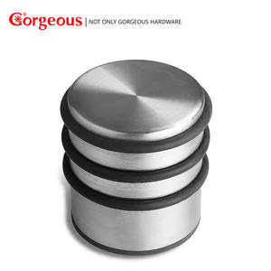 Gorgeous Solid heavy duty Threshold Stainless Steel free punching anti-collision rubber door stop Hardware Accessories