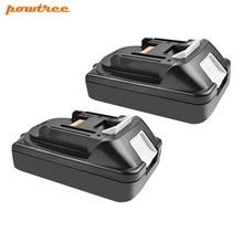 Powtree For Makita 2PCS 2000mAh 18V BL1815 BL830 Power Tools Lithium Battery Replacement BL1835 BL1850 BL1860 194205-3 194309-1