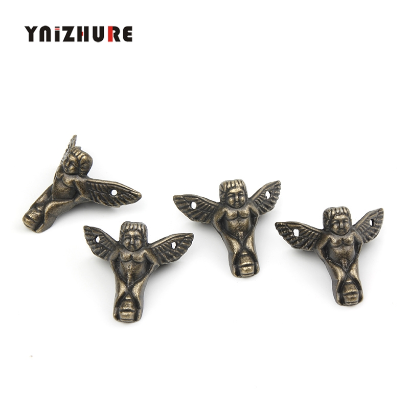 30*27mm 4Pcs Zinc Alloy Mini Angel Footing,Decoration Legs,Vintage Wooden Box,Cabinet Corner,Bronze Tone Color