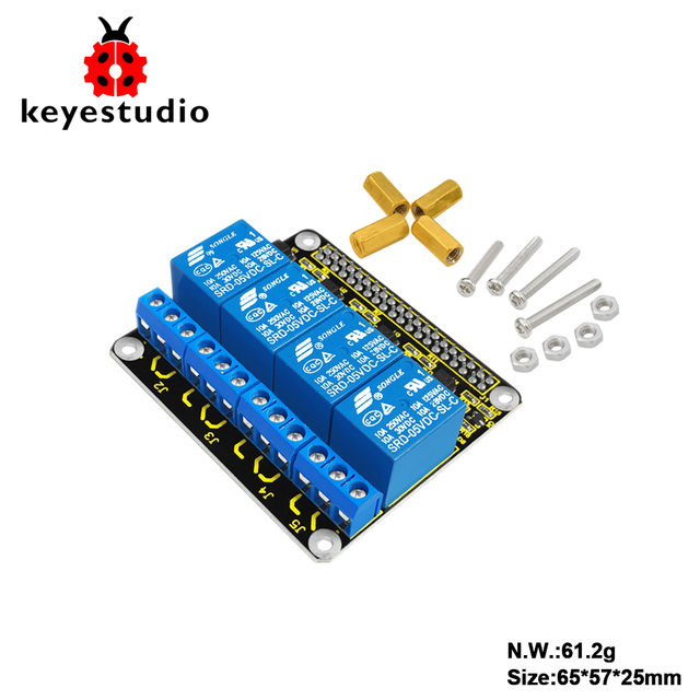 US $8 99 |Keyestudio RPI 4channel Relay 5V Shield for Raspberry Pi/ CE  certification-in Integrated Circuits from Electronic Components & Supplies  on