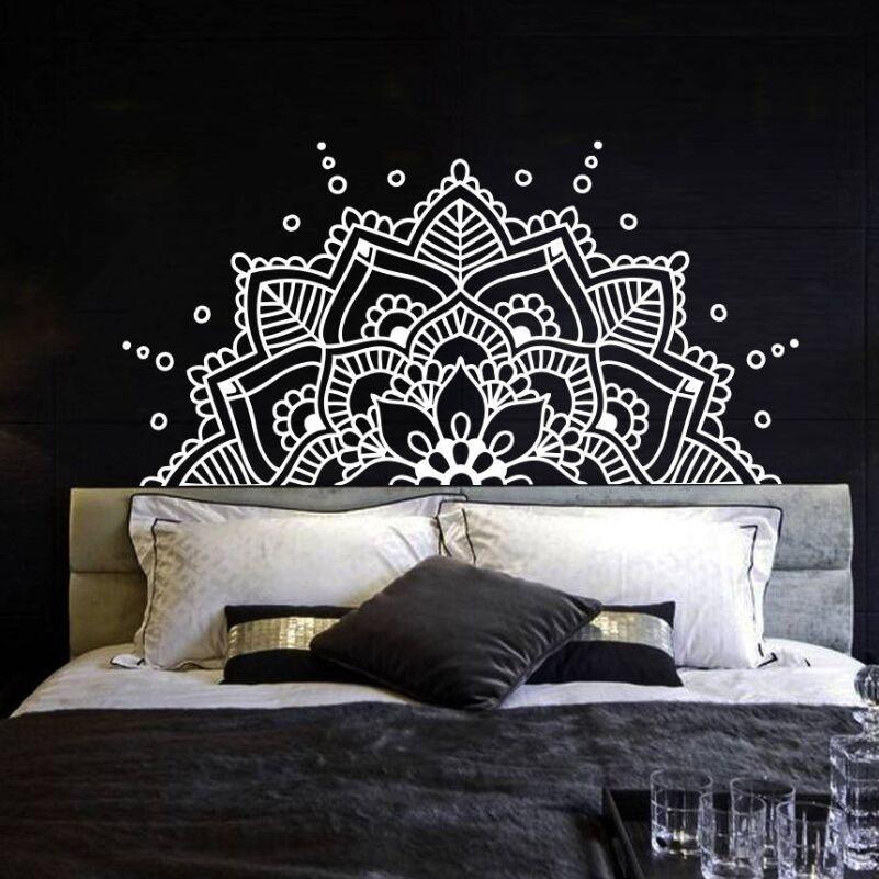 Bedroom Headboard Boho Bohemian Decor Half Mandala Wall Decal Yoga