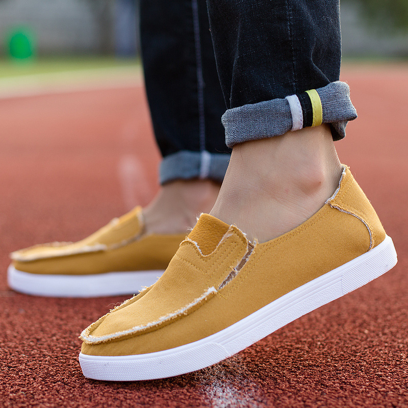 GAYO Store 2017 New Fashion Spring Beige Rubber Cotton Fabric Hard-Wearing Boat Shoes Slip-On Breathable Light Hard-Wearing Grey Man shoe