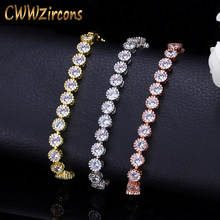 CWWZircons Classic Round Crown Shape Cubic Zirconis Tennis Bracelet Bangle Rose Gold Color Women Fashion Jewelry Gift CB035(China)