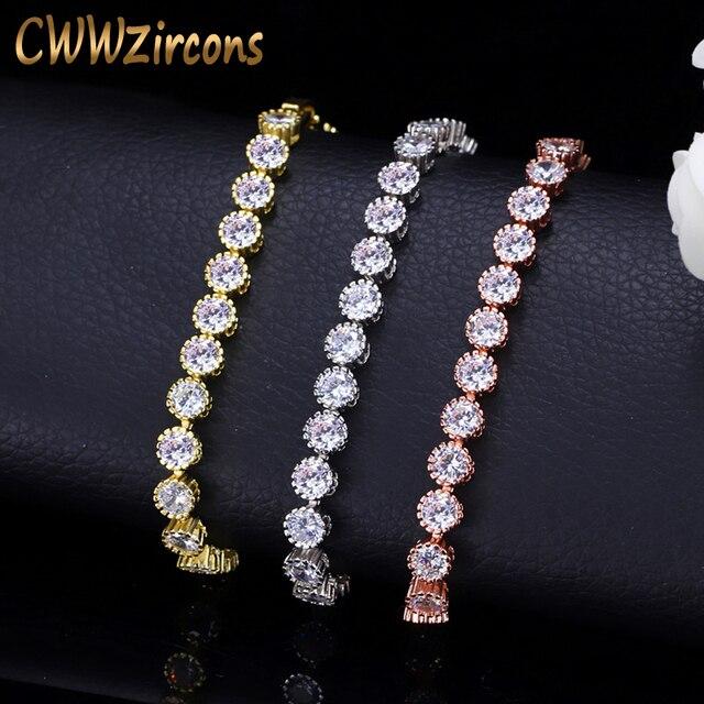 CWWZircons Tròn Cổ Điển Thái Hình Khối Zirconis Bóng Vòng Tay Vòng Hoa Hồng Vàng Màu Sắc Nữ Trang Sức Thời trang CB035